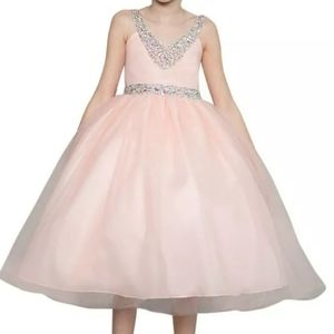 Jeweled blush pink peach flower girl dress gown 2